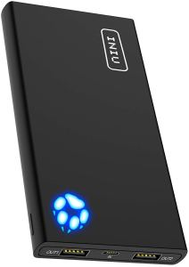 an iniu portable charger in black with a blue paw print on the front sitting at an angle on a white background