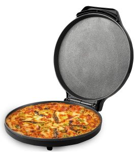 a pizza maker with a pizza inside and the lid up on a white background