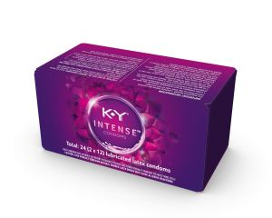 a box of k-y intense lubricated thin condoms on a white background