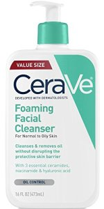 cerave foaming facial cleanser bottle on a white background