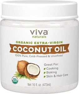 a jar of viva naturals coconut oil on a white background