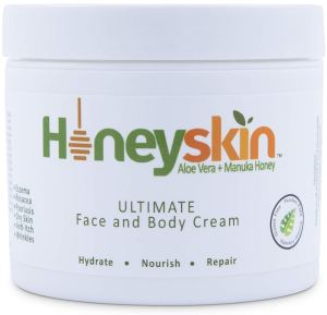honeyskin moisturizer body and face cream on a white background