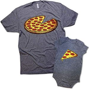 a tishirt showing a pizza with a slice missing and a baby onesie showing a slice of pizza