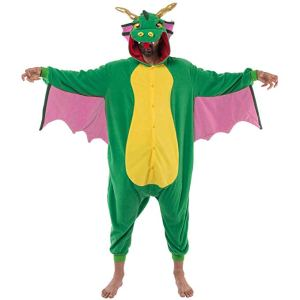 man wearing a silly dragon one piece costume