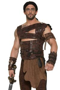 man wearing a khal drogo costume with a sword