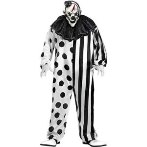 scary black and white killer clown costume