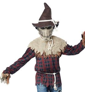 man wearing a scary scarecrow costume