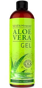 a bottle of seven minerals aloe vera gel on a white background