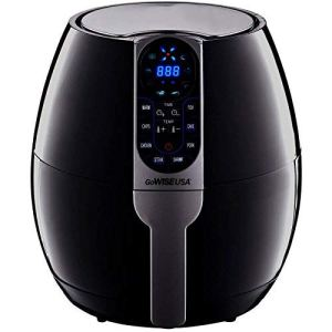 a black air fryer on a white background