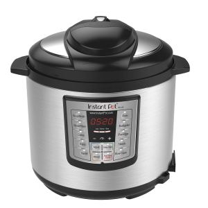 an instant pot pressure cooker on a white background