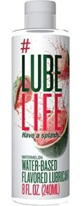 a bottle of lube life watermelon flavored lube on a white background