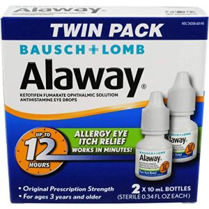 a box of alaway antihistamine eye drops on a white background