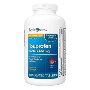 a bottle of basic care ibuprofen on a white background