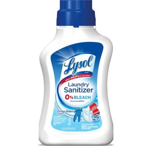 a bottle of lysol laundry sanitizer on a white background