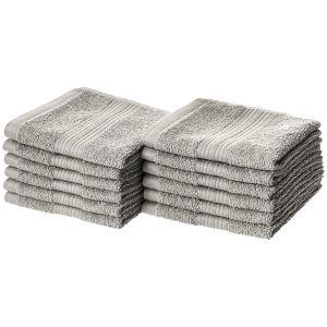 two stacks of amazonbasics washcloths on a white background