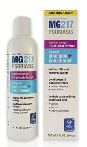 mg217 shampoo bottle and a box on a white background