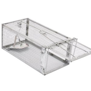 a silver cage rate trap on a white background with the door open