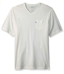 White T-Shirt V Neck Pocket