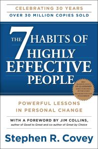 the self-help book titled 7 habits of highly effective people on a white background