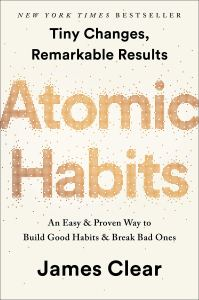 the self-help book titled atomic habits on a white background