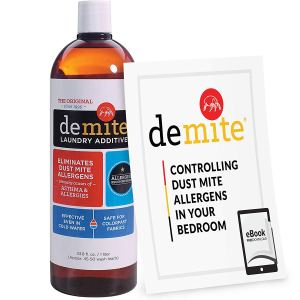 a bottle of demite and an instructional pamphlet on a white background