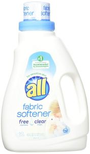 a bottle of all fabric softener for sensitive skin