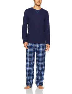 man wearing blue flannel pajamas