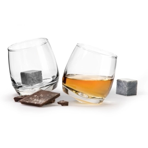 Sagaform Set of 2 Rocking Whiskey Tumblers & Drink Stones