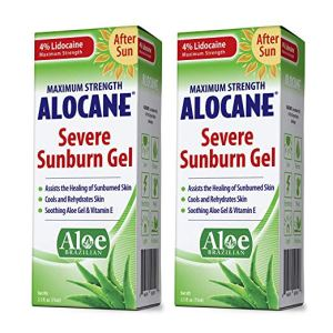 two boxes of alocane severe sunburn gel on a white background