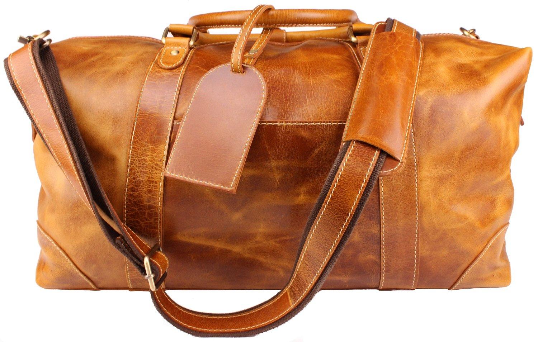 Viosi Travel Duffel Bag in light brown leather