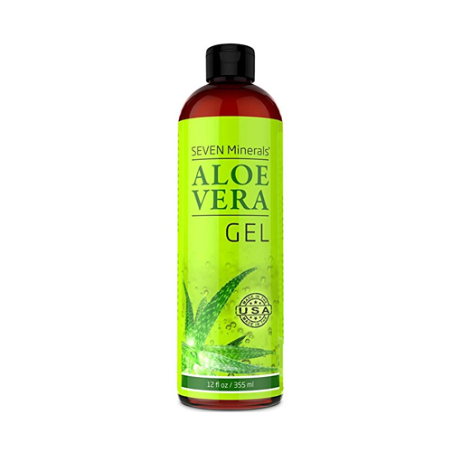 a bottle of seven minerals aloe vera gel on a white background