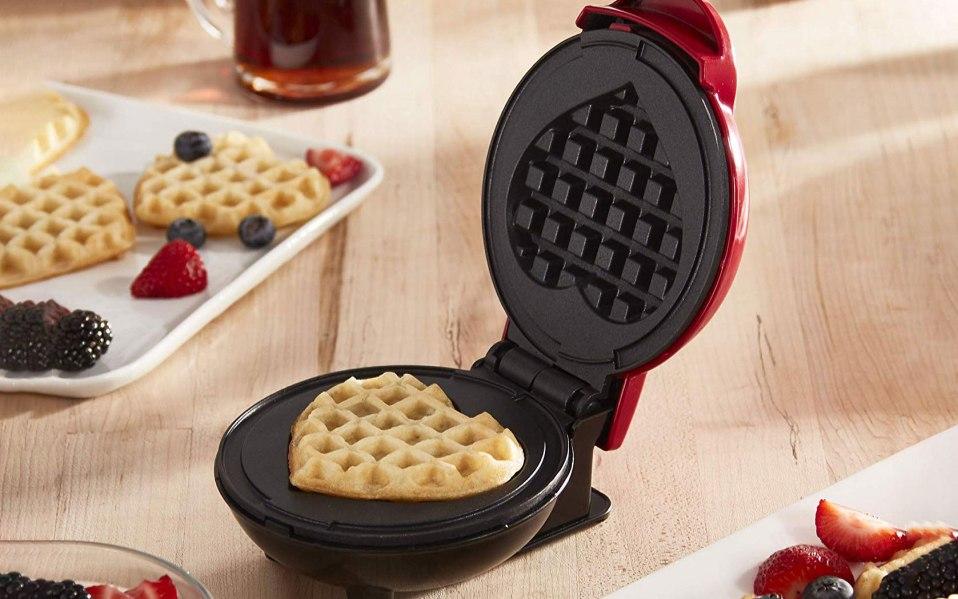 a heart-shaped waffle maker