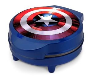 the captain america shield waffle maker sitting on a white background