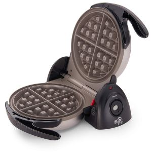 the presto flip waffle maker sitting open on a white background, best waffle makers