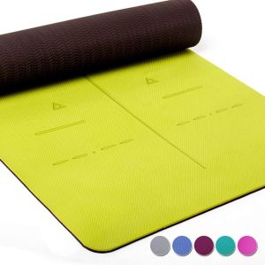 yellow green yoga mat unrolling itself on a white background