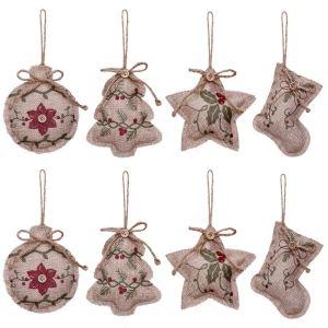 Yosichy Burlap Christmas Tree Ornaments