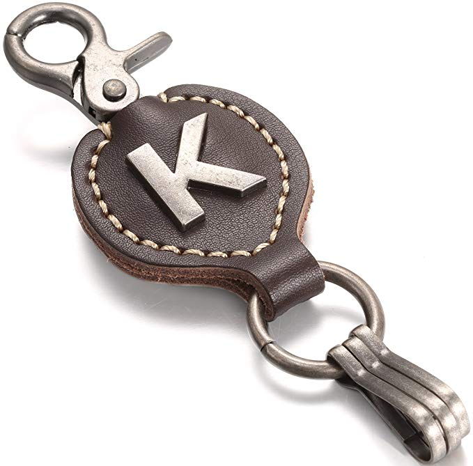 best keychains for men - Leather Keychain Initial