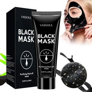 a box and a tube of vassoul blackhead peel off mask on a white background next to a woman peeling off the mask