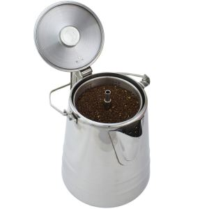 the coletting coffee percolator with its lit open on a white background