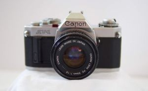 canon 35mm film camera on a white background