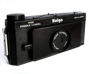 holga pinhole 35mm film camera on a white background