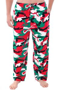 a man wearing red, green, white and black camo pajama pants on a white background