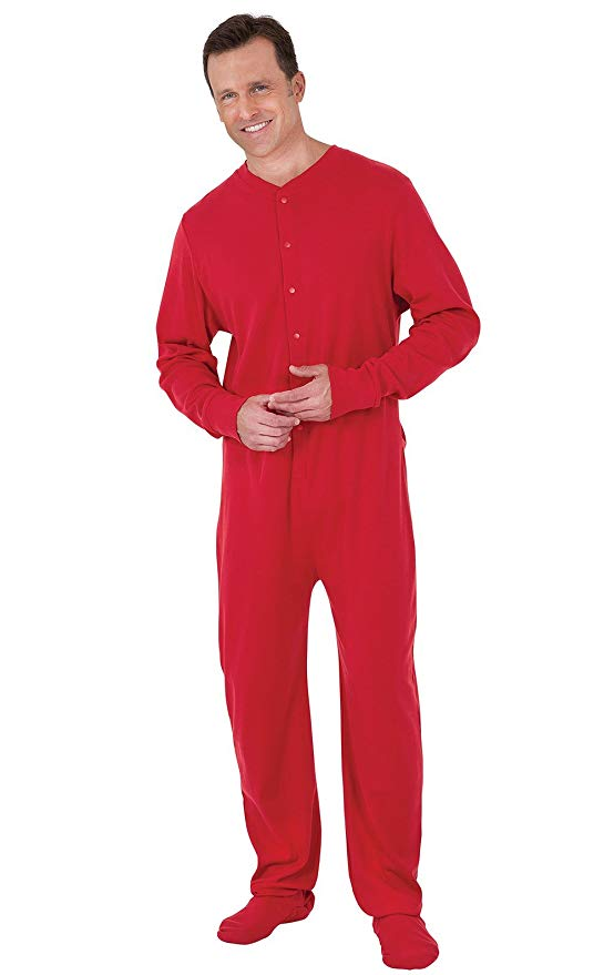 a man wearing a red onesie as pajamas on a white background