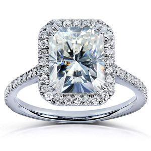 kobelli rectangular halo diamond engagement ring on a white background