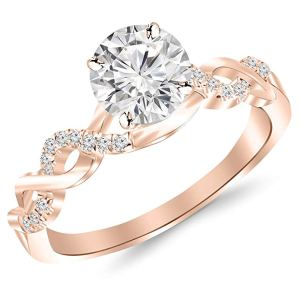 rose gold weave diamond engagement ring on a white background