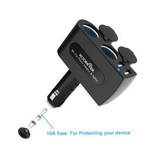 Rocketek 2-Socket Car Splitter Cigarette Lighter Adapter