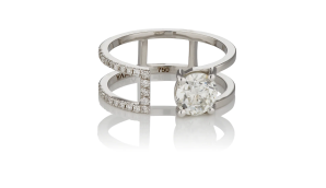 double band modern cut yama engagement ring on a white background