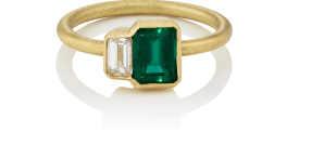 tate union emerald and white diamond gold engagement ring on a white background