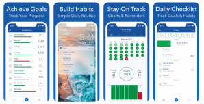 a series of four screenshots showing the strides habit tracker app