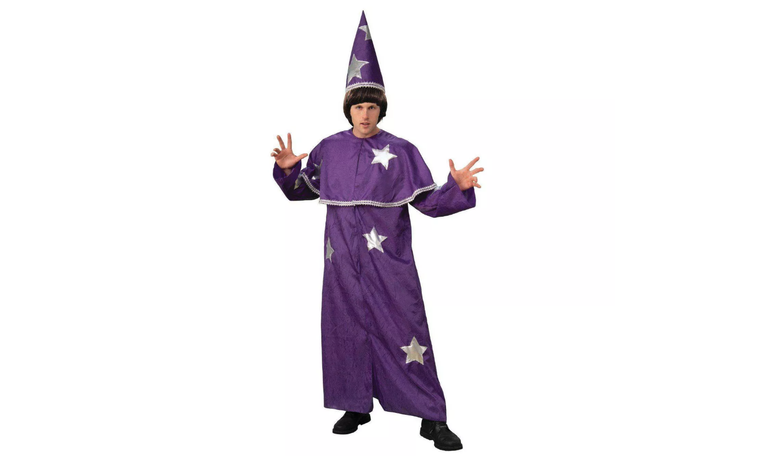 a man wearing a purple wizards halloween costume on a white background